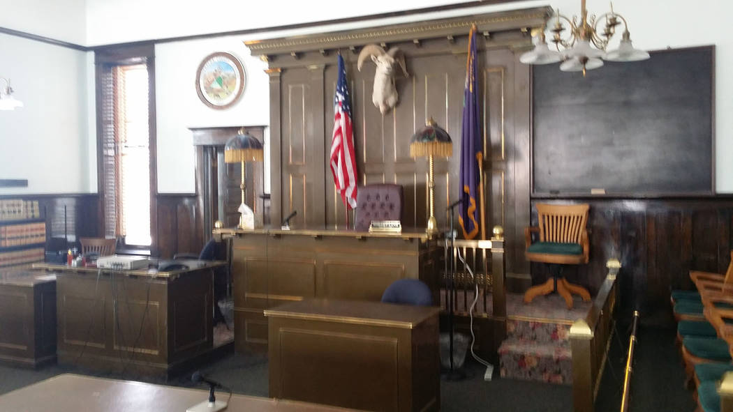 David Jacobs/Pahrump Valley Times A courtroom in the Esmeralda County courthouse in Goldfield as seen in a 2016 photo. The rural counties cited in the complaint are Nye, Esmeralda, White Pine, Dou ...