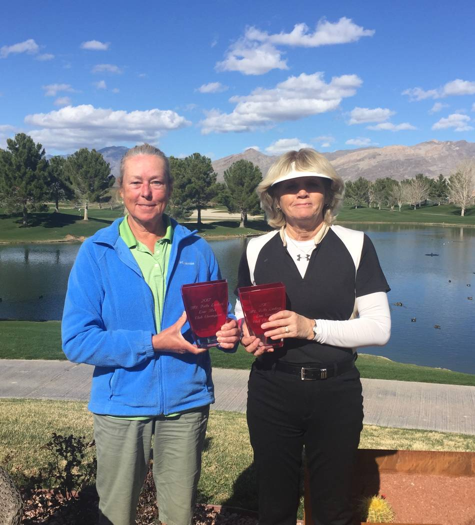 Gail Greene (left) and Jackie Dobbins. Dobbins is the new Mountain Falls Women's Golf Association champion. Special to the Pahrump Valley Times