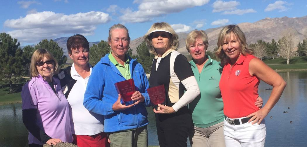From left to right, Joyce Jaramillo won second flight low net, Terri Bennet won first flight low net, Gail Greene over the field, Jackie Dobbins low gross over the field, Kristy Degnan second low  ...