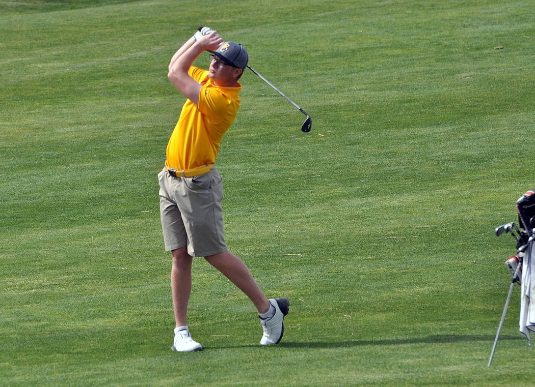 The annual Pahrump Valley Invitational brings top teams from as far as California. Pahrump was also able to see top golfers from the Sunrise League. Seen here is Boulder City High School's top g ...