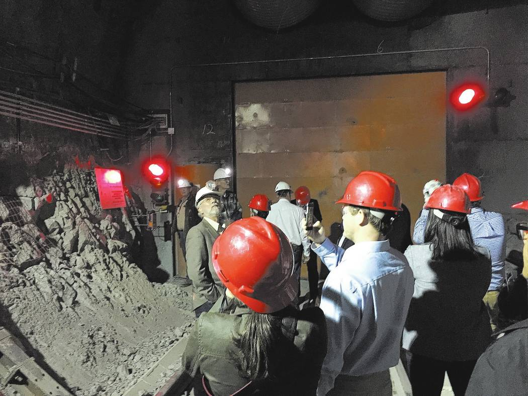 Congressional staff members, media and Department of Energy employees during a congressional tour of the Yucca Mountain exploratory tunnel on April 9, 2015. Special to the Pahrump Valley Times