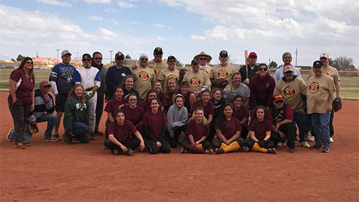 The Pahrump VFW Men's Auxiliary faced off against members of the PVHS girls' softball team in a match dubbed 'Batting 1,000.' The third annual fundraising event at Pahrump Valley High Scho ...