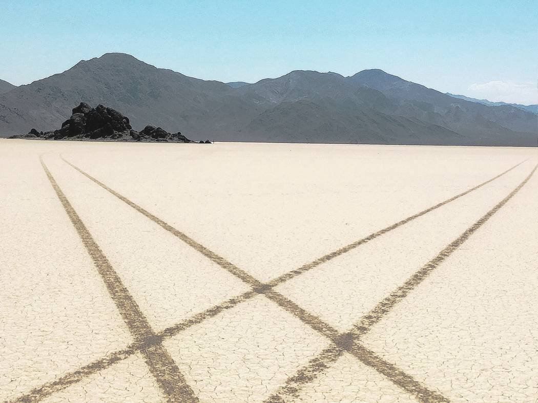Off-road tracks criss-cross a part of Death Valley off limits to off-road vehicles. Death Valley has been subject to multiple instances of vandalism in the past caused by vehicles traveling off-ro ...