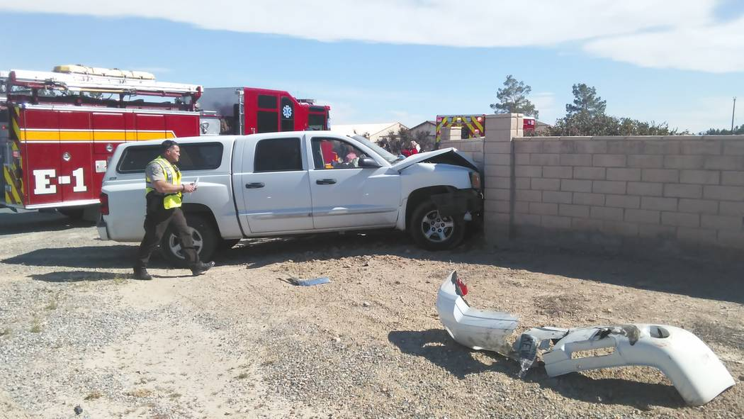 A woman and child, along with an elderly male, were transported to Desert View Hospital following a two-vehicle collision at Calvada Boulevard and Red Rock Drive Wednesday afternoon. All are expec ...