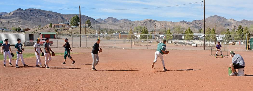 Beatty runs infield practice at one of its practices earlier this week getting ready for Trona on Monday at 3:30 p.m. on the road. Richard Stephens / Pahrump Valley Times