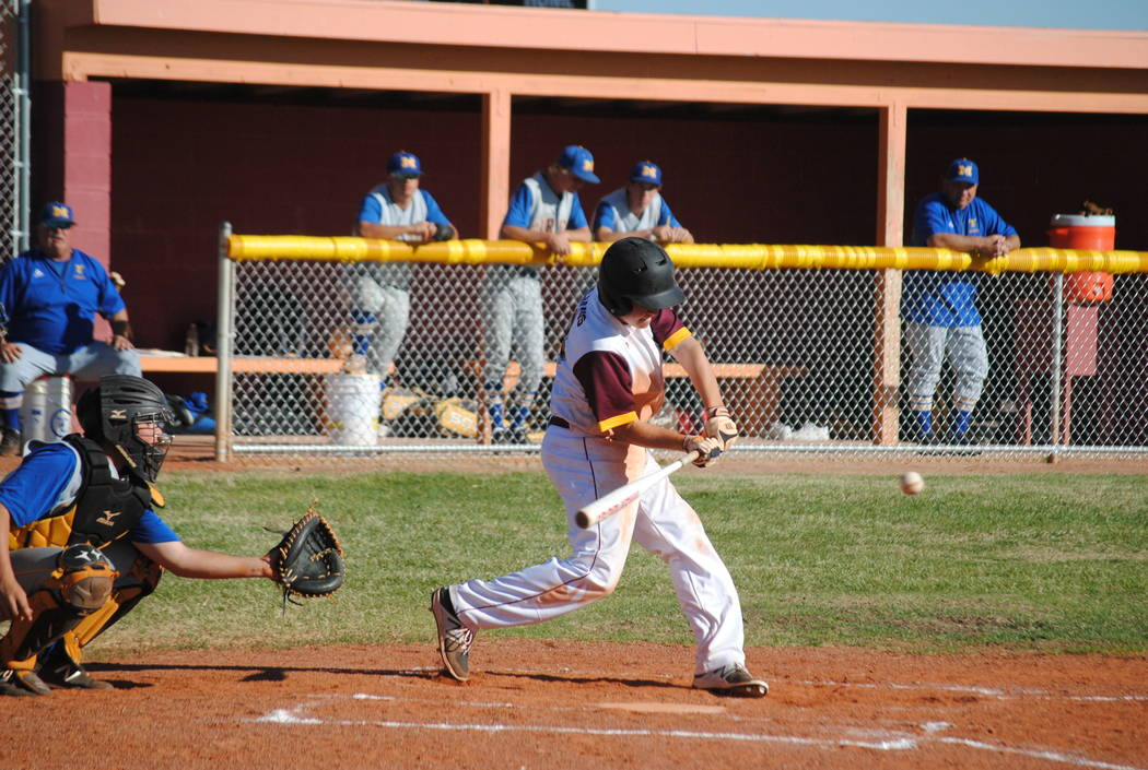 Freshman cyle Havel batting against the Pirates on Tuesday. Charlotte Uyeno / Pahrump Valley Times