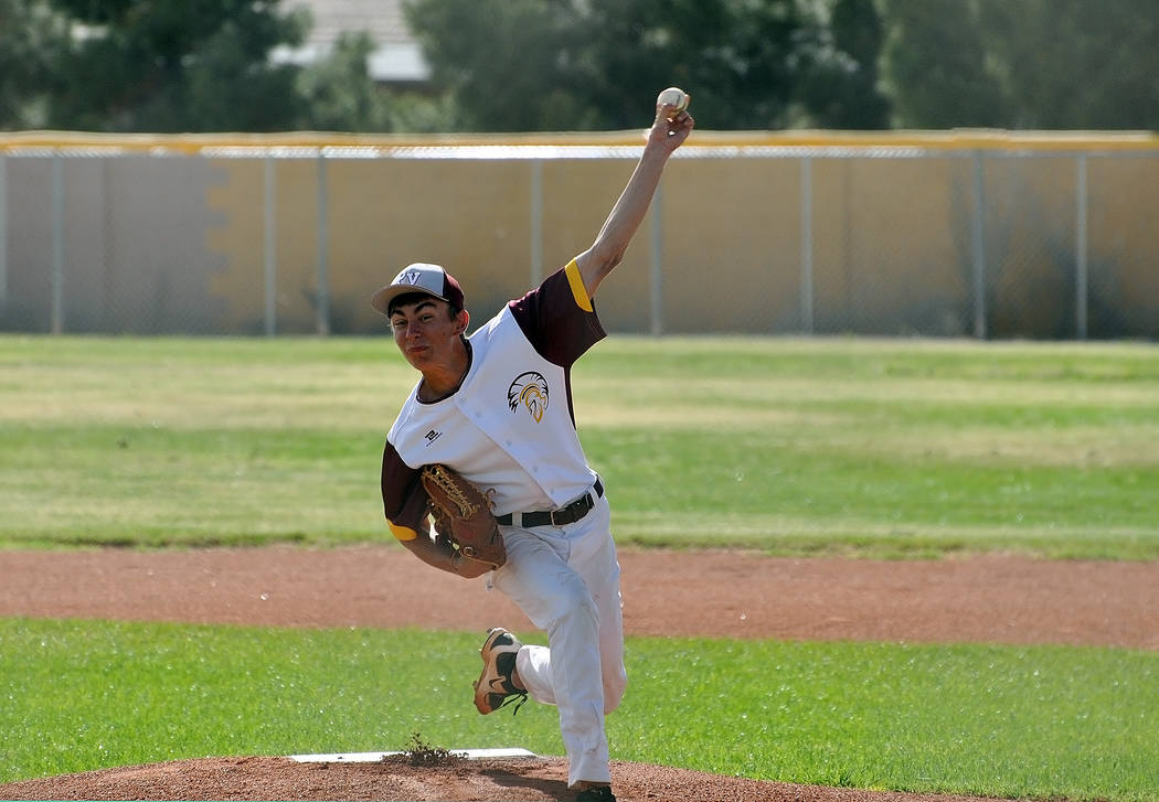 Garrett Lucas is seen on the mound for Pahrump against Chaparral on Monday. Lucas was the winning pitcher against the Cowboys, allowing three unearned runs as the Trojans cruised to a 9-3 win. Hor ...