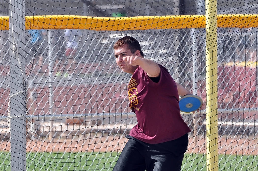 Horace Langford Jr. / Pahrump Valley Times Junior Jeremy Albertson throws the discus during practice on Monday. Albertson leads Southern Nevada Class 3A right now in the discus.