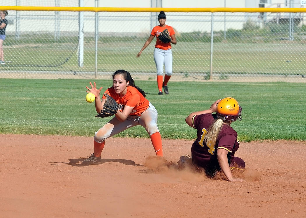 Jordan Egan shows off her speed as she slides into second against Chaparral on Monday.Horace Langford Jr. / Pahrump Valley Times