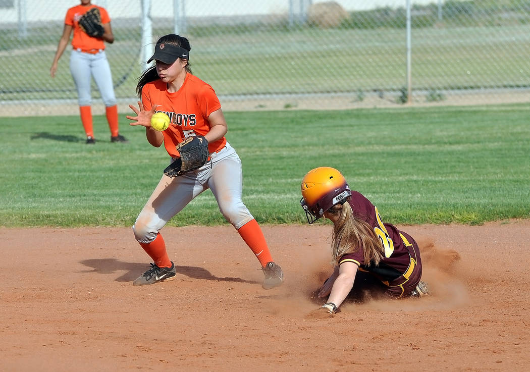 Trojans runner Hailey Sanchez sliding into second. The Trojans beat visiting Chaparral 8-3 on Monday afternoon. Horace Langford Jr. / Pahrump Valley Times