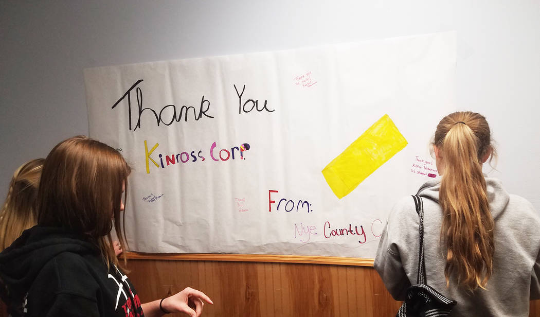 A giant thank-you banner is being signed to thank Kinross Gold for its $35,200 contribution for public health services in Tonopah. David Jacobs/Times-Bonanza & Goldfield News