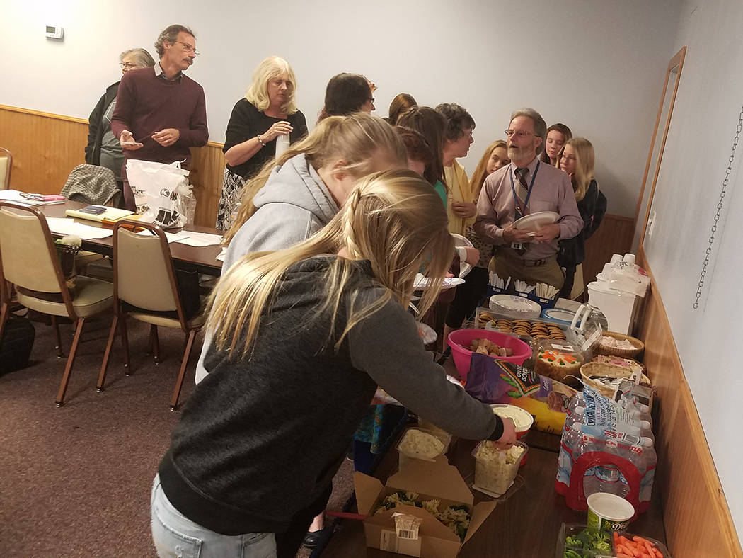 Members of the Tonopah Coalition gather in the Tonopah Convention Center on March 1 for a thank-you potluck lunch. The event thanked Kinross Gold for its $35,200 contribution for public health ser ...