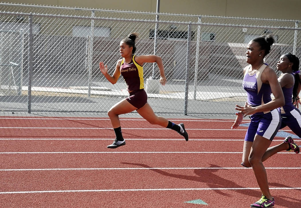 Horace Langford Jr. / Pahrump Valley Times   Freshman Jazmyne Turner winning the 100-meter dash at Pahrump. Trojans track coach McKenzie Dean feels if Turner puts in the work, she can be a top spr ...