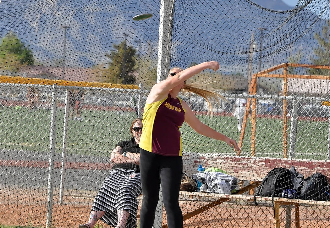 Horace Langford Jr. / Pahrump Valley Times  Senior thrower Caeli Havel throws the discus on Tuesday in Pahrump. She is the lead thrower for the girls and is ranked sixth in state in the shot put a ...