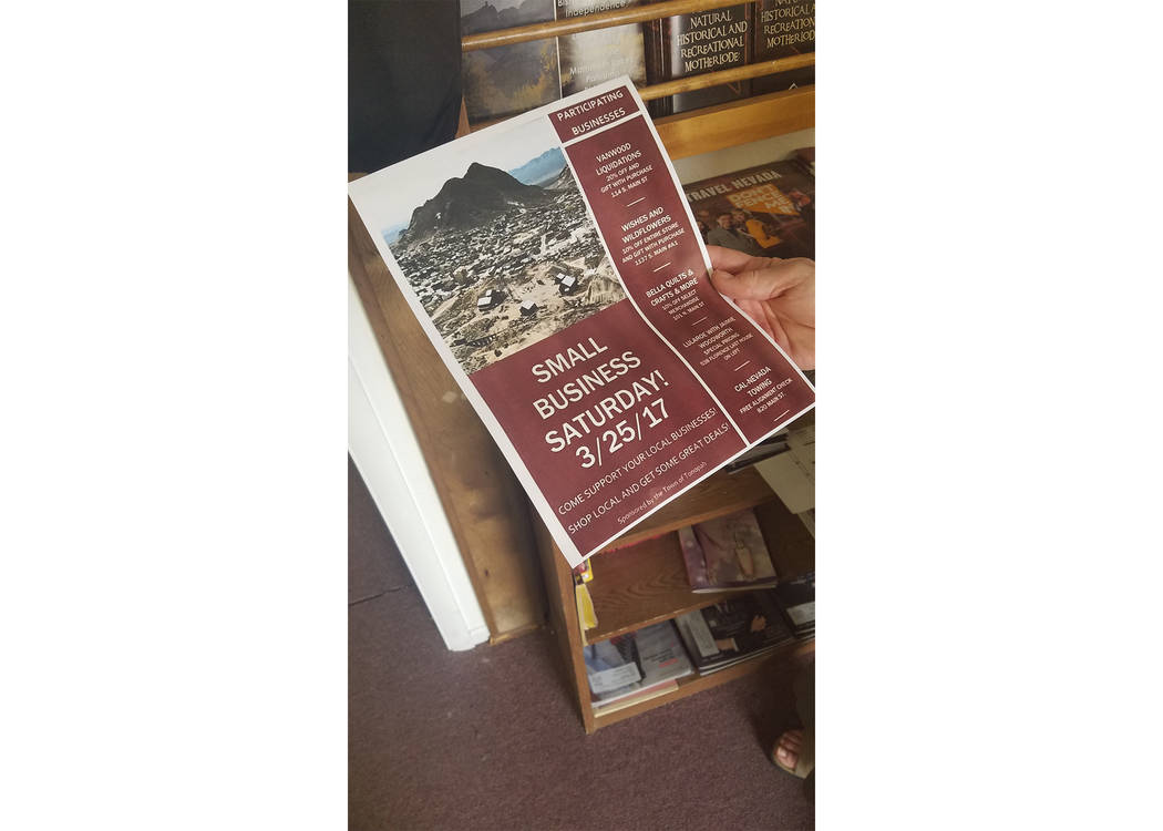 David Jacobs/Pahrump Valley Times  A flier, held by Tonopah Administrative Manager Chris Mulkerns, highlights a special event set for Saturday, March 25 in Tonopah. The effort seeks to promote loc ...
