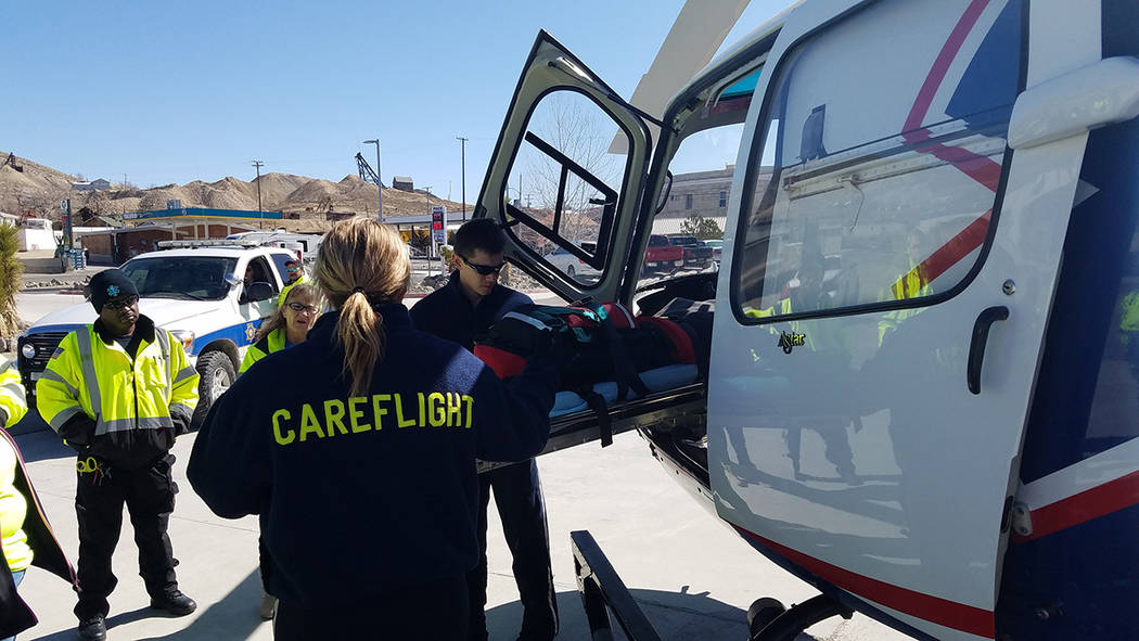 A Care Flight helicopter based in Fallon arrived in Tonopah on Sunday morning Feb. 26 to help in the training of volunteer ambulance crews from Tonopah and Goldfield. The Care Flight crew included ...