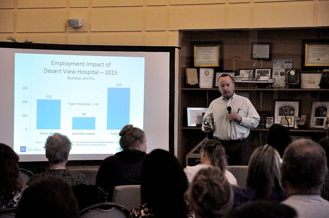 Horace Langford Jr./Pahrump Valley Times Dr. John Packham gives a presentation during a Desert View Hospital Community Health Needs Assessment on Thursday.