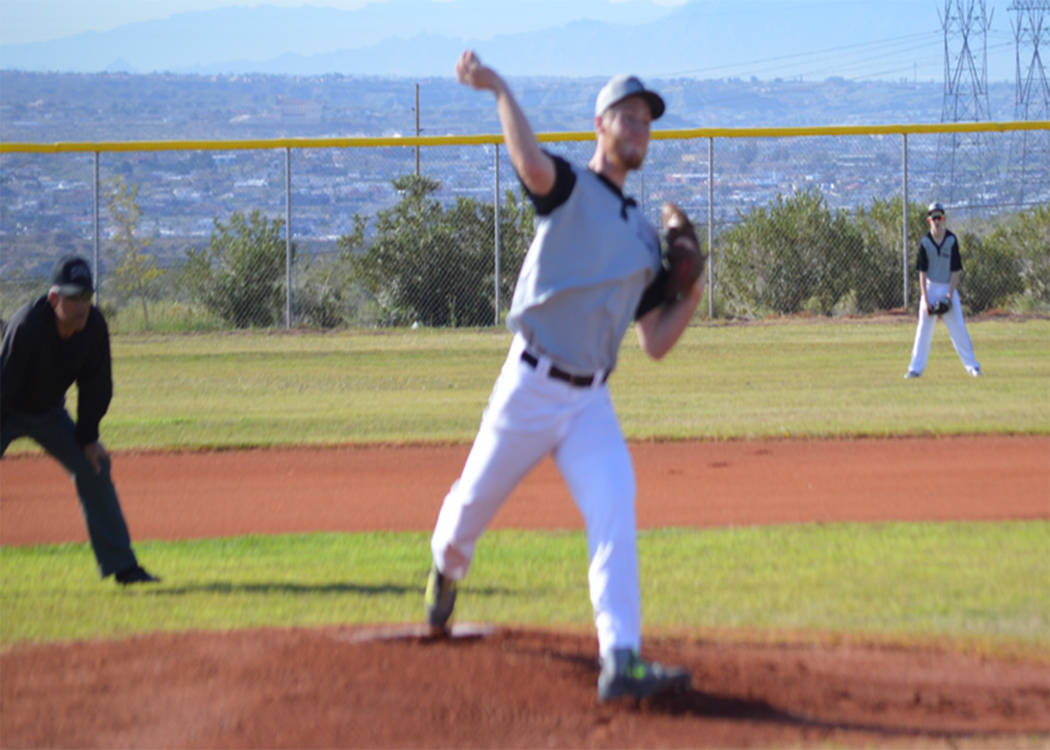 Special to the Pahrump Valley Times  Corbin Jensen on the mound for Round Mountain. According to Knights coach Jake Topholm, he is one of the top pitchers on the team.