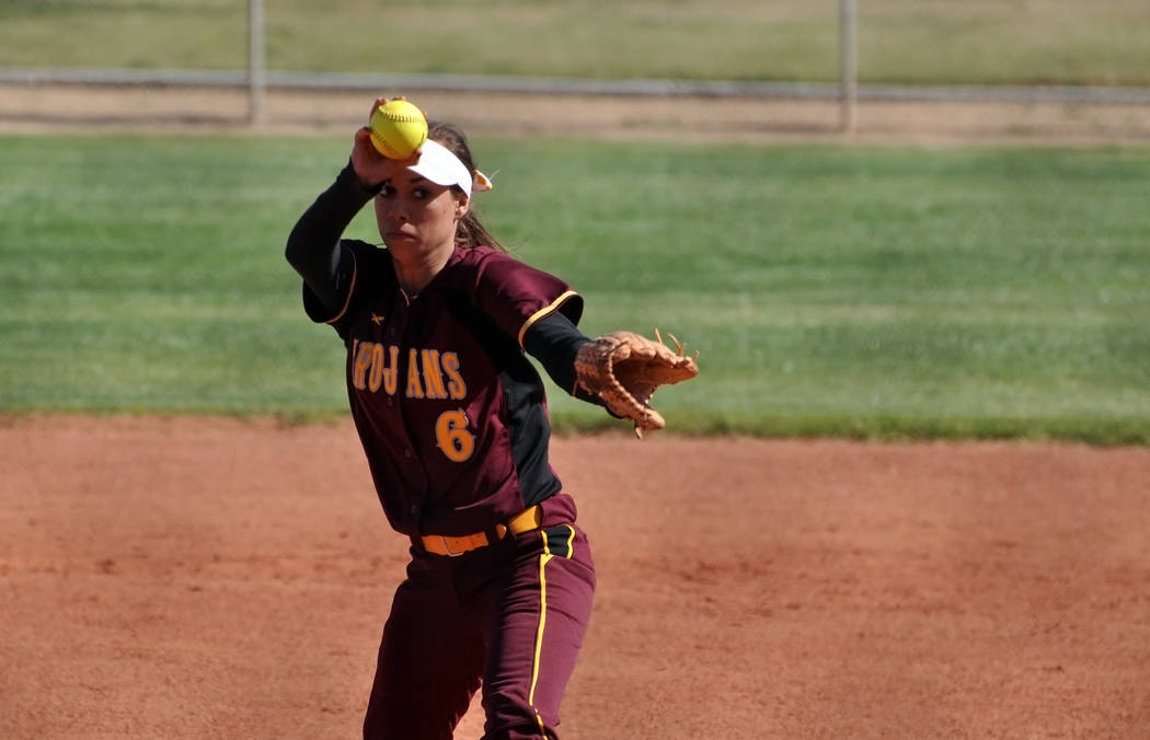 Horace Langford Jr. / Pahrump Valley Times   Amaya Mendoza pitched a solid three innings in the second game of the doubleheader for the 17-2 win. The game was called after three innings due the me ...