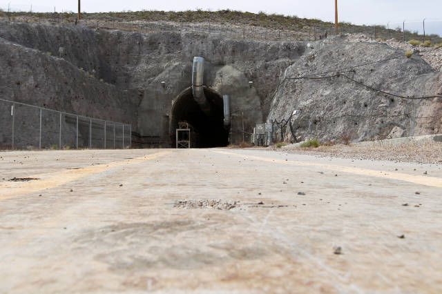 The north portal of the Yucca Mountain exploratory tunnel is seen Thursday, April 9, 2015. Sam Morris/Special to Pahrump Valley Times/file photo