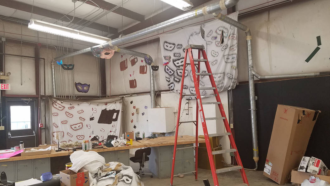 A look inside the old wood-shop building that is being converted to a prom venue at Tonopah High School as shown in March 16 photo. This is the first year the prom is being held in that building.  ...