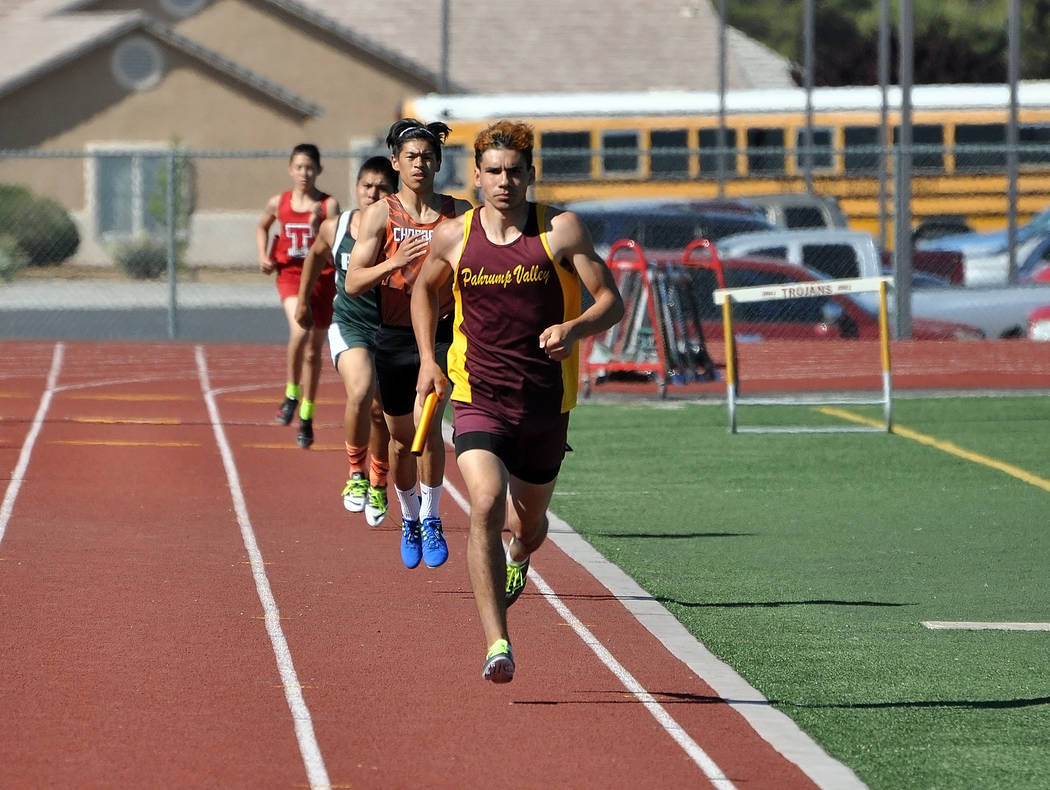 Horace Langford Jr. / Pahrump Valley Times   Senior Nik Clark was in the lead in the 4x800-meter relay. The team, composed of junior Bryce Odegard, junior Layron Sonerholm, sophomore Sanchez and C ...