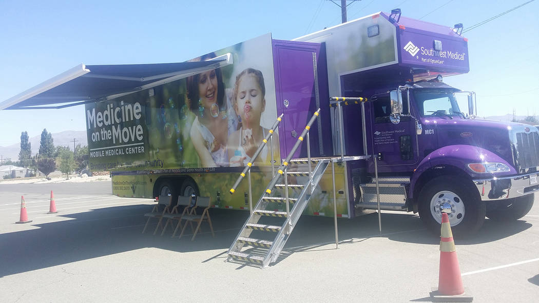 The Medicine on the Move mobile medical center as shown during a stop in Hawthorne in 2016. The 45-foot truck, based out of Las Vegas, includes two examining rooms. One is shown in the photo. The  ...