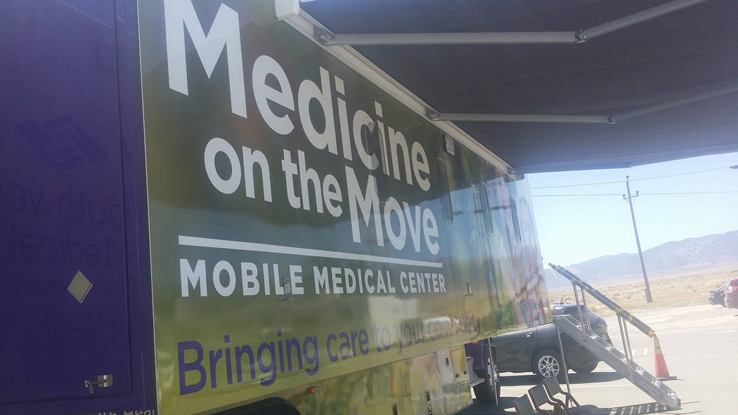 The Medicine on the Move mobile medical center as shown during a stop in Hawthorne in 2016. The 45-foot truck, based out of Las Vegas, includes two examining rooms.  The mobile medical center prov ...