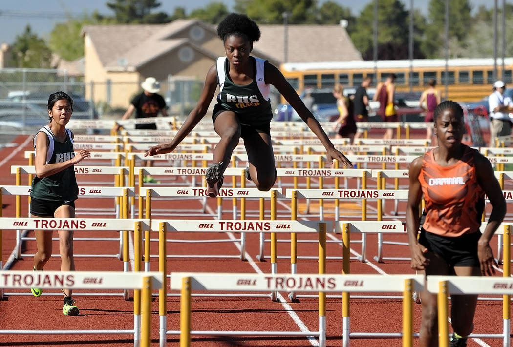 Horace Langford Jr. / Pahrump Valley Times Freshman Adriana Motton took third in the 100-meter hurdles (19.9 and a personal best) at the Pahrump track meet on March 29.