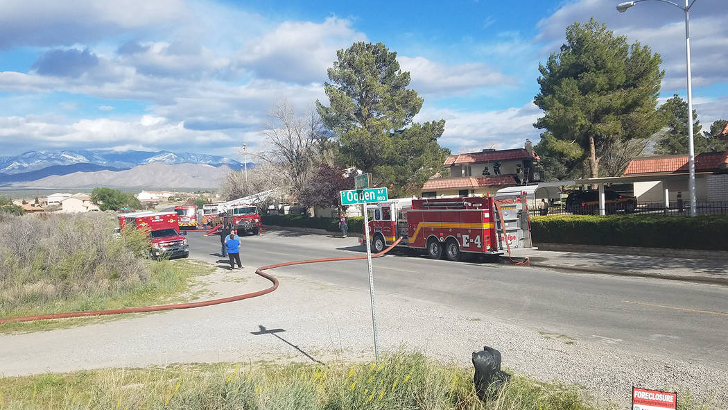 David Jacobs/Pahrump Valley Times Fire vehicles outside the apartment that burned off Bourbon Street in Pahrump on March 31. No one was injured in the fire that remains under investigation.