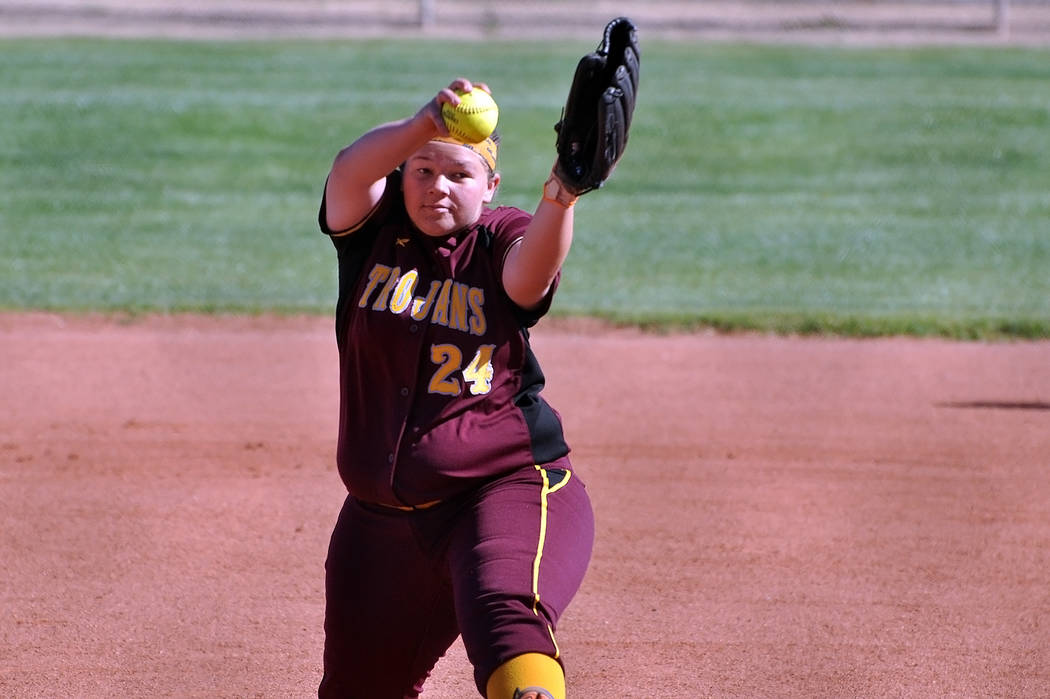 Horace Langford Jr. / Pahrump Valley Times Krista Toomer pitched two outstanding innings for PVHS, allowing no runs Monday.
