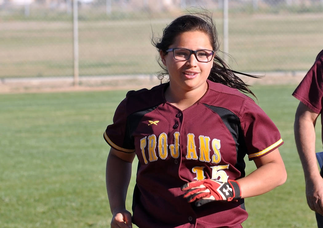 Horace Langford Jr. / Pahrump Valley Times  Sophomore Taylor Egan pitched the last inning for the Trojans and despite giving up runs, (which were all unearned) she showed good velocity and a lot o ...