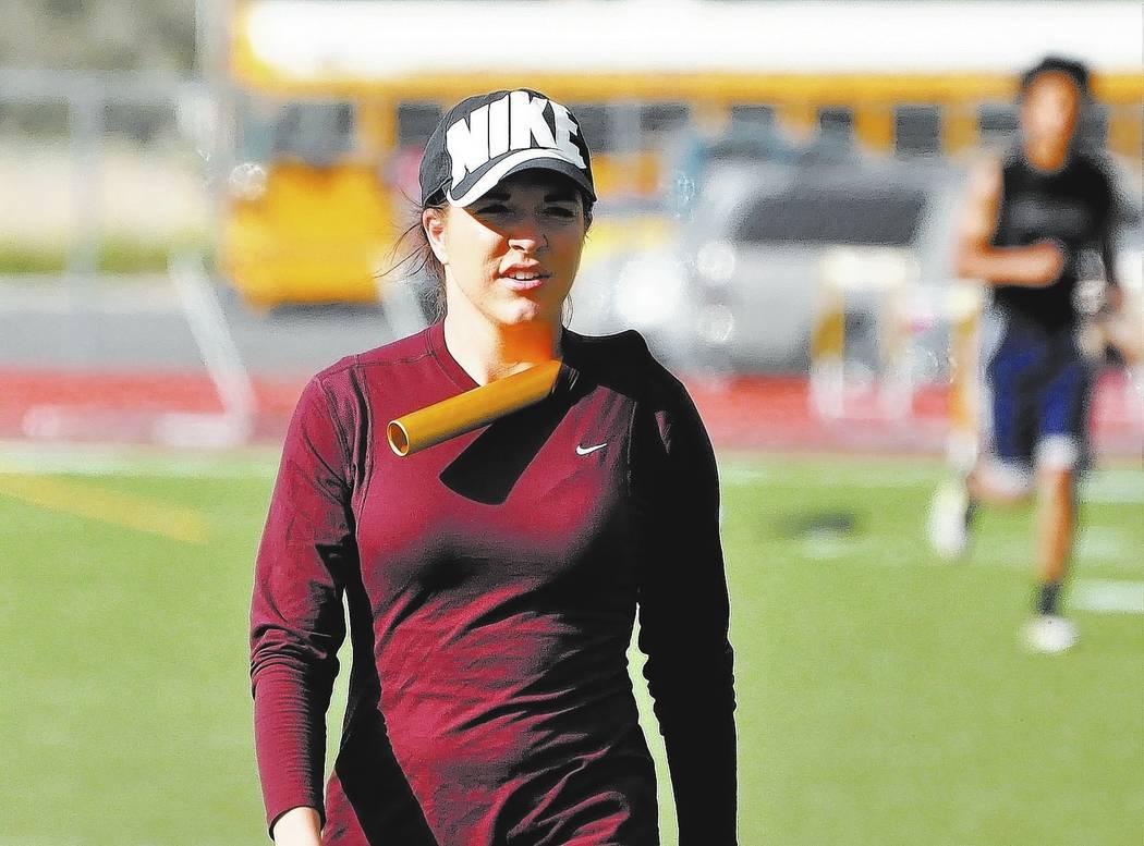 Horace Langford Jr. / Pahrump Valley Times -  PVHS Track coach McKenzie Dean