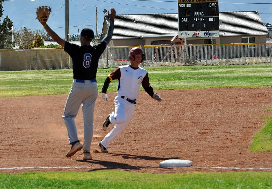 Horace Langford Jr. / Pahrump Valley Times Sophomore Dylan Grossell is seen running the bases on Monday against Desert Pines. He scored two runs during the game.