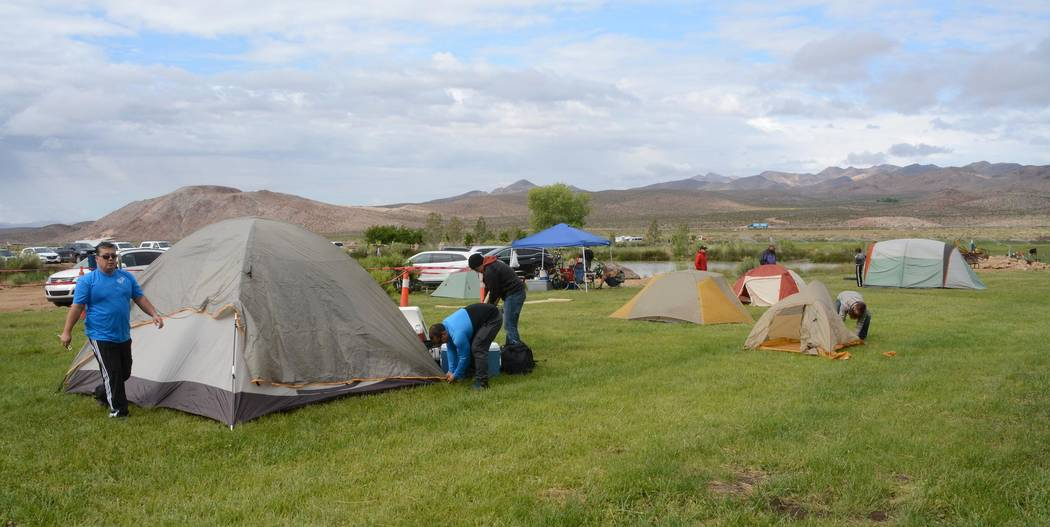 Richard Stephens/Pahrump Valley Times  Bikers camp out on the grass at the Beatty Taco Festival at Spicer Ranch. This year's event is expected to draw nearly 500 people.