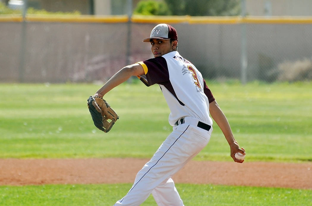 Horace Langford Jr. / Pahrump Valley Times  Junior Bradda Costa on the mound for Pahrump struck out six against against the Desert Shields for the win.