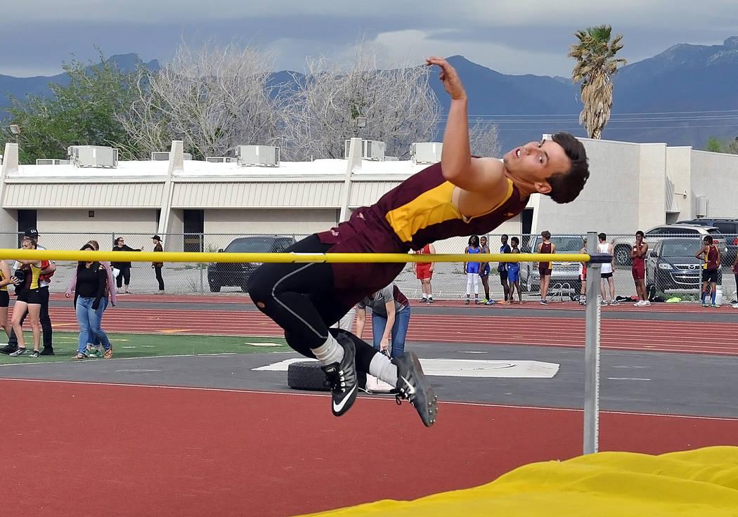 Horace Langford Jr. / Pahrump Valley Times  Danny Washum clears the bar in the high jump for the Trojans in last week's meet on April 6.