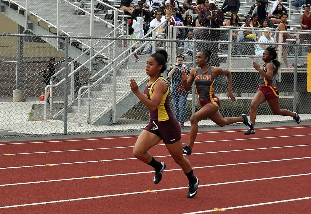 Horace Langford Jr. / Pahrump Valley Times  Freshman sprinter Jazmyne Turner runs in the 100-meter dash for a first-place finish on April 6 at Pahrump.