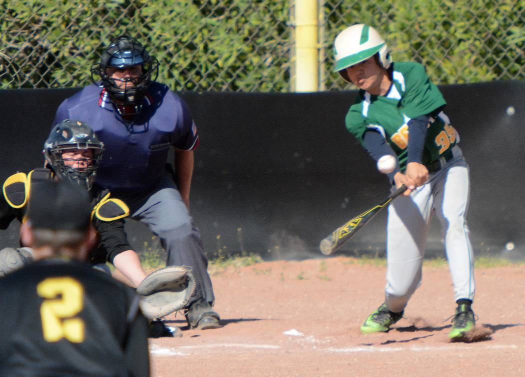Richard Stephens / Pahrump Valley Times  Daniel Castillo gets a base hit and and RBI against Mineral County. Castillo had four steals in the second game with Spring Mountain on April 7.