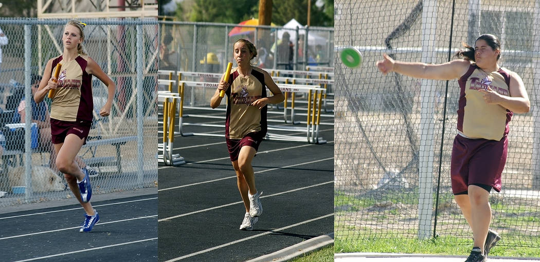 Horace Langford Jr. / Pahrump Valley Times  Members of the 2007 girls state championship team and how they looked 11 years ago: Casey Burtenshaw-Ciavarella, Carrie Musick and Alexis Abou-Halaka du ...