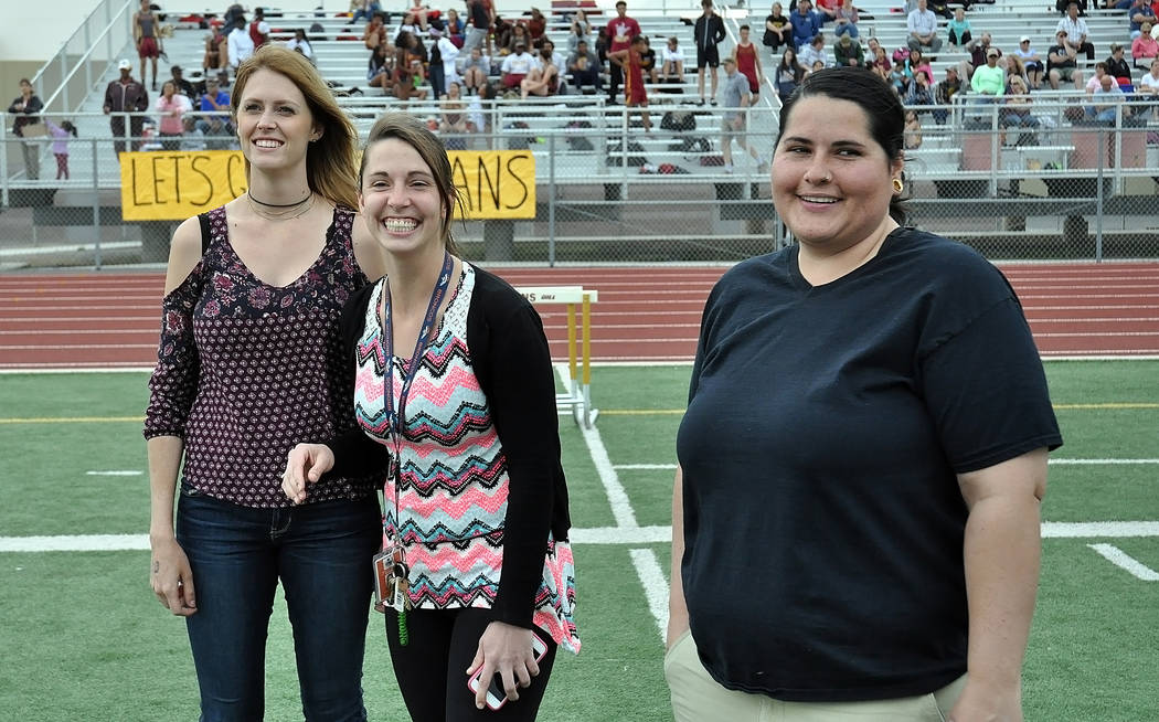 Horace Langford Jr. / Pahrump Valley Times  Members of 2007 state championship girls track team as they appear today from left to right: Casey Burtenshaw-Ciavarella, Carrie Musick and Alexis Abou- ...