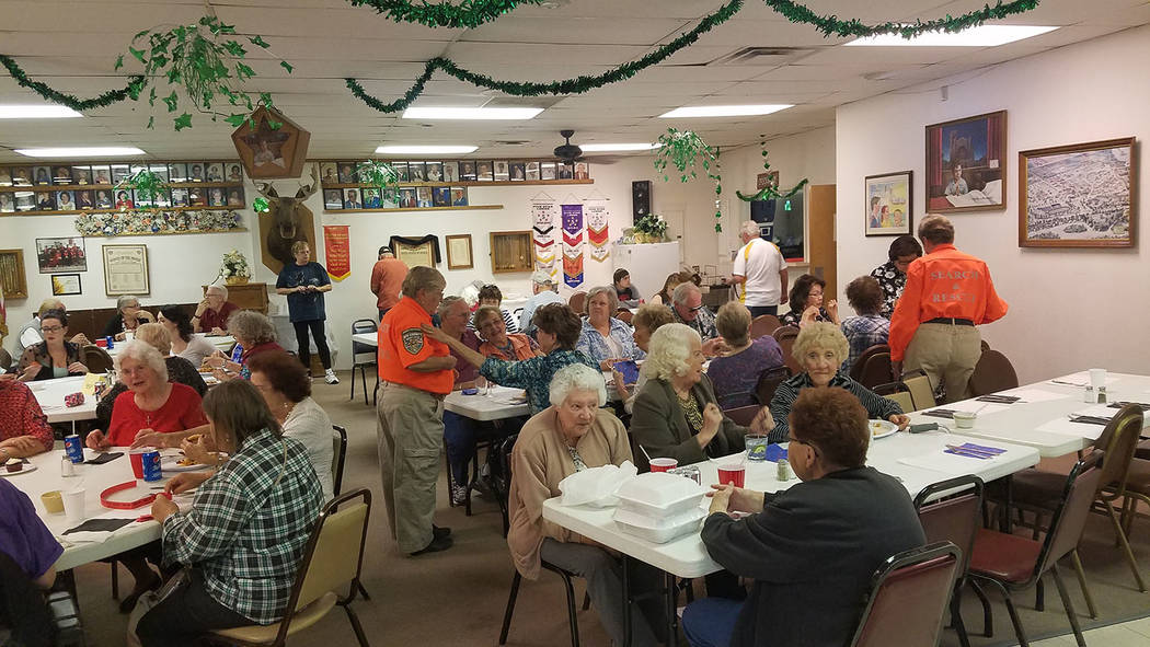 David Jacobs/Tonopah Times-Bonanza A look inside the Moose Lodge where a spaghetti was served April 2 in Pahrump. The event raised money for the Nye County Search and Rescue Team. Besides spaghett ...