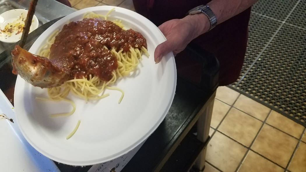 David Jacobs/Tonopah Times-Bonanza A look at spaghetti and sauce served April 2 at the Moose Lodge in Pahrump. The event raised money for the Nye County Search and Rescue Team. Besides spaghetti,  ...
