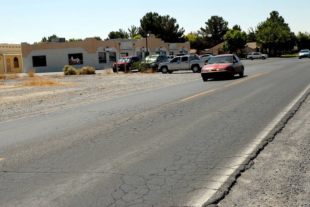 Horace Langford Jr. / Pahrump Valley Times - Cracks are seen in the Pahrump Valley Boulevard south of East Calved Boulevard.