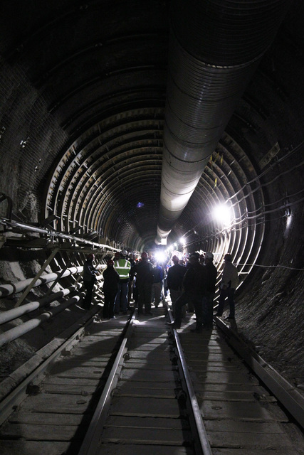 Congressmen, staff, journalists and Department of Energy employees gather during a congressional tour of the Yucca Mountain exploratory tunnel Thursday, April 9, 2015. (Las Vegas Review-Journal)