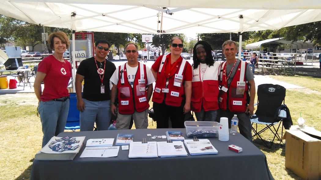 Selwyn Harris/Pahrump Valley Times American Red Cross Regional Public Information Officer, Frank Rutkowski, second from left, is joined by colleagues during a recent volunteer drive in Pahrump. Ru ...