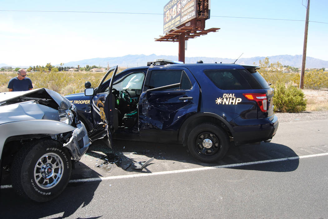 Special to the Pahrump Valley Times Emergency crews responded to a two-vehicle collision involving an on-duty Nevada Highway Patrol trooper just after noon last Saturday. While there were individu ...
