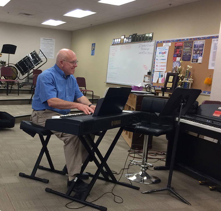 Barry Langendorf accompanies the High Desert Chorale during practice. Practice is at 6:30 p.m. on Thursdays. Langendorf has been playing for the chorale for two years and singing bass for five.