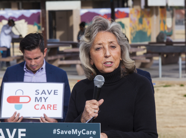 Miranda Alam/Las Vegas Review-Journal U.S. Rep. Dina Titus, D-Las Vegas, speaks at an event opposing the repeal of the Affordable Care Act at Freedom Park near downtown Las Vegas on Thursday, Feb. ...