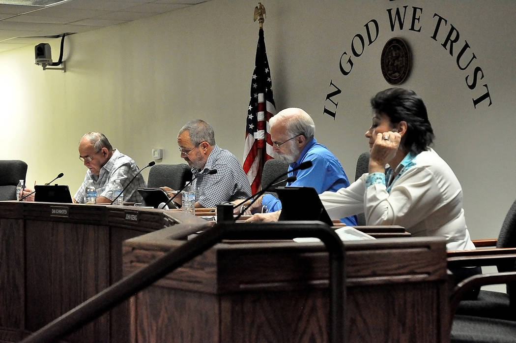 Horace Langford Jr. / Pahrump Valley Times Nye County commissioners gave a four months extension to GWGA, a medical marijuana establishment in Pahrump for its special use permit. The applicant, Sa ...